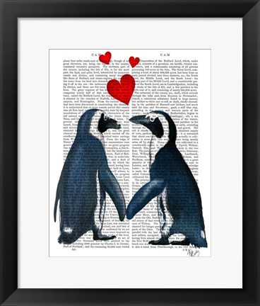 Framed Penguins With Love Hearts Print