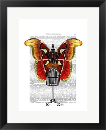 Framed Mannequin Red And Yellow Butterfly Print