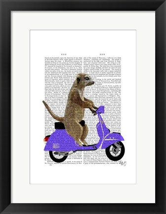 Framed Meerkat on Lilac Moped Print