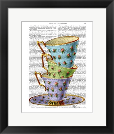 Framed Stack Of Three Vintage Teacups Print