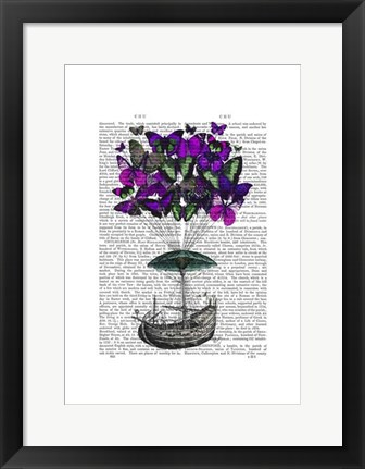 Framed Butterfly Airship 2 Purple and Green Print