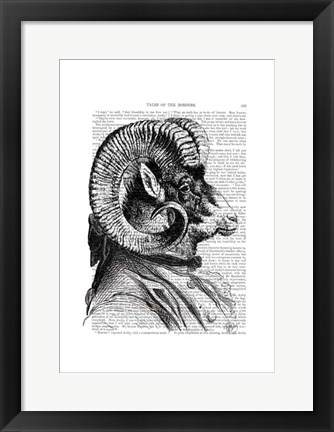 Framed Bighorn Sheep In Suit Print