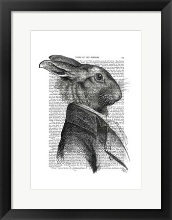 Framed Rabbit Portrait Profile Print