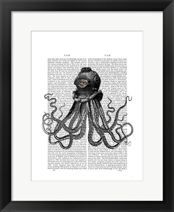 Framed Octopus and Diving Helmet Print