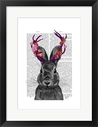 Framed Jackalope with Pink Antlers Print