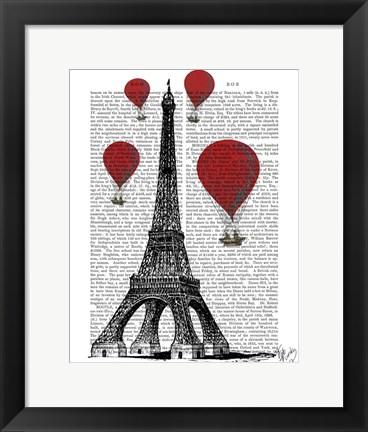 Framed Eiffel Tower and Red Hot Air Balloons Print