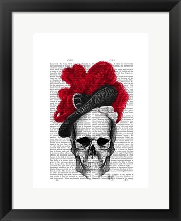 Framed Skull with Red Hat Print