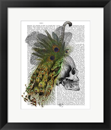 Framed Skull With Feather Headress Print