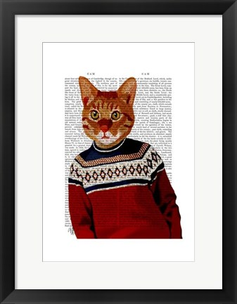 Framed Cat in Ski Sweater Print