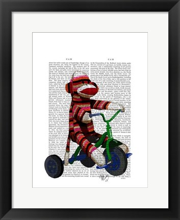 Framed Sock Monkey on Tricycle Print
