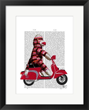 Framed Sock Monkey on Moped Print