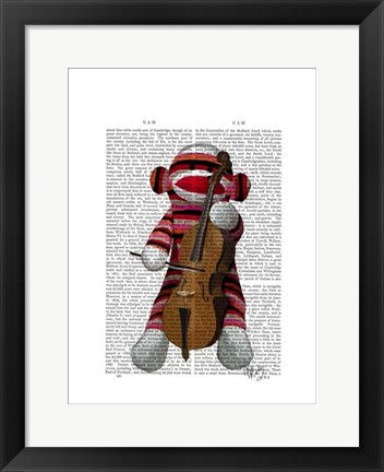 Framed Sock Monkey and Cello Print