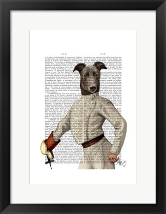 Framed Greyhound Fencer in Cream Portrait Print