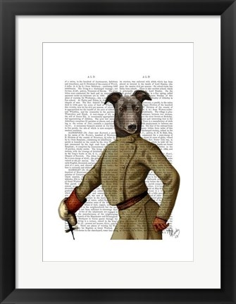 Framed Greyhound Fencer Dark Portrait Print