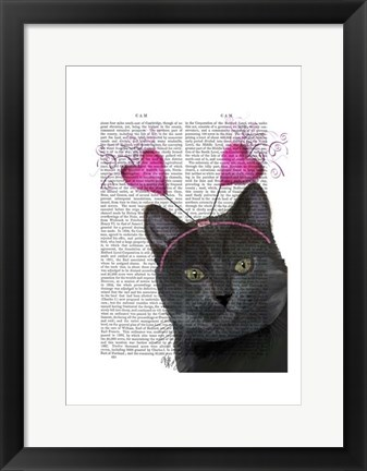 Framed Black Cat Valentines Print