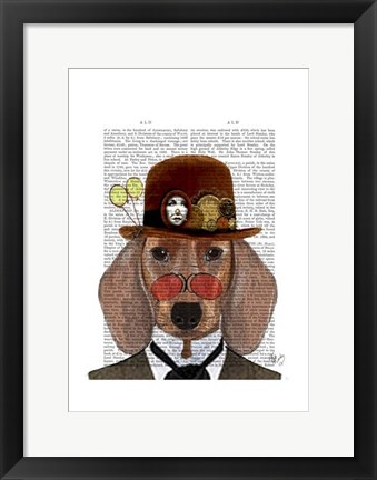 Framed Dachshund with Steampunk Bowler Hat Print
