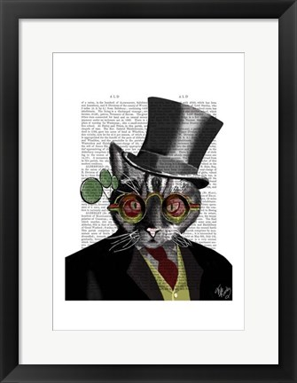 Framed Steampunk Cat - Top Hat and red yellow glasses Print