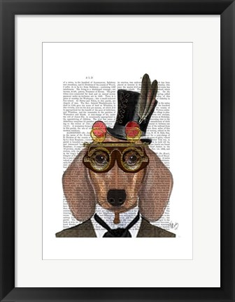 Framed Dachshund with Top Hat and Goggles Print