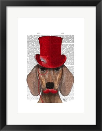 Framed Dachshund With Red Top Hat and Moustache Print