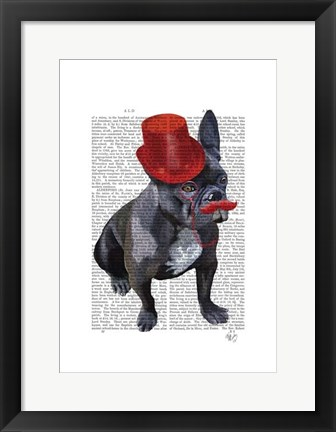 Framed French Bulldog With Red Top Hat and Moustache Print