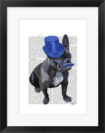 Framed French Bulldog With Blue Top Hat and Moustache Print