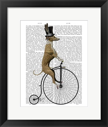 Framed Greyhound on Black Penny Farthing Bike Print