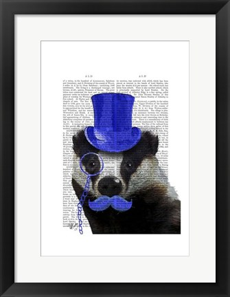 Framed Badger with Blue Top Hat and Moustache Print