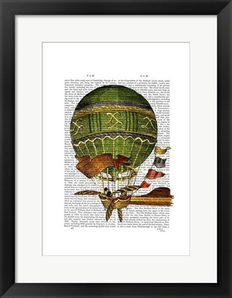 Framed Hot Air Balloon Green Print