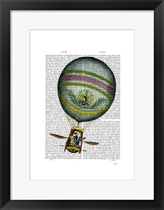 Framed Light Blue Hot Air Balloon Print