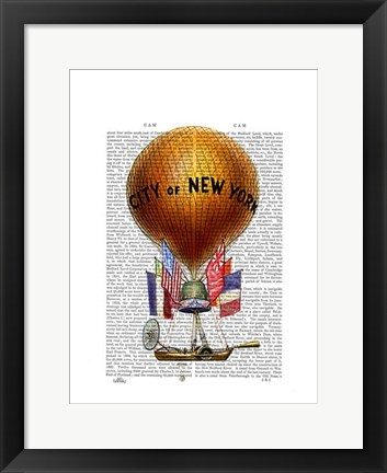 Framed City of New York Hot Air Balloon Print