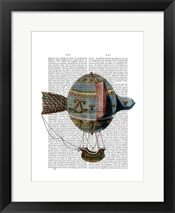 Framed Hot Air Balloon With Tail Feather Print