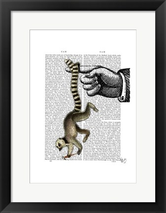 Framed Ring Tailed Lemur on Finger Print