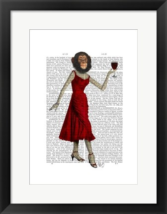 Framed Chimp With Wine Print