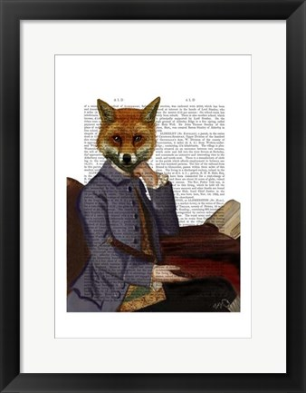 Framed Fox With Flute Print