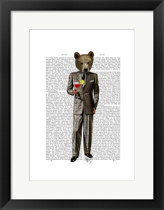 Framed Bear with Cocktail Print