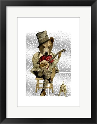 Framed Banjo Bear I Print
