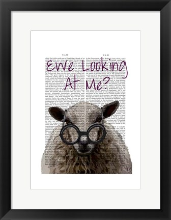 Framed Ewe Looking at Me DeNiro Sheep Print