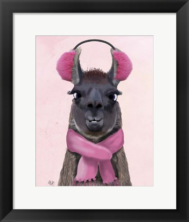 Framed Chilly Llama Pink Print