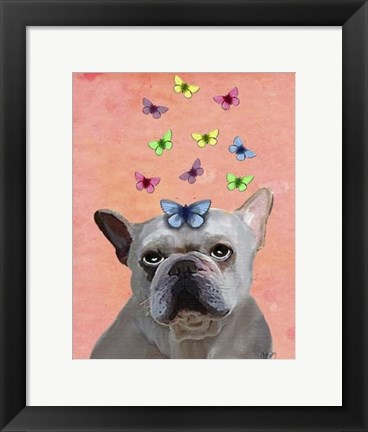 Framed White French Bulldog and Butterflies Print
