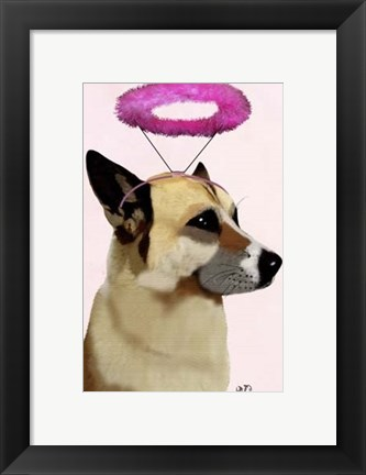 Framed Dog with Pink Halo Print