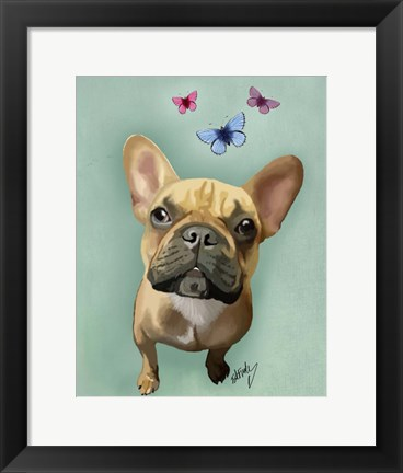 Framed Brown French Bulldog and Butterflies Print