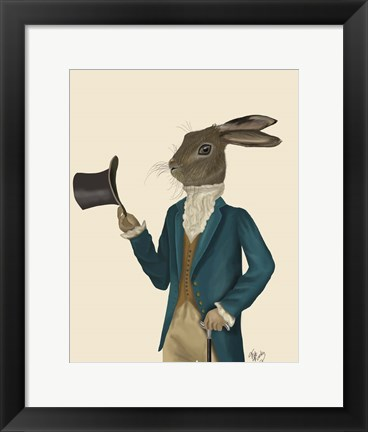 Framed Hare In Turquoise Coat Print