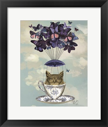 Framed Owl In Teacup Print