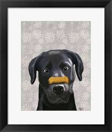 Framed Black Labrador With Bone on Nose Print