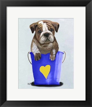 Framed Bulldog Bucket Of Love Blue Print