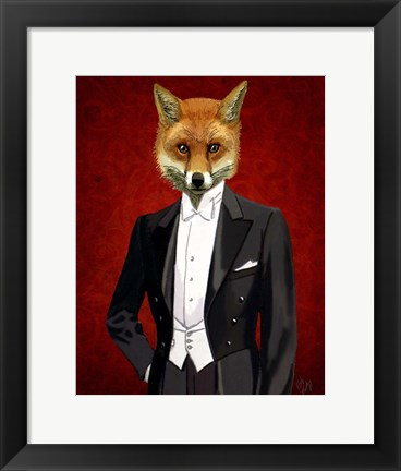 Framed Fox In Evening Suit Portrait Print