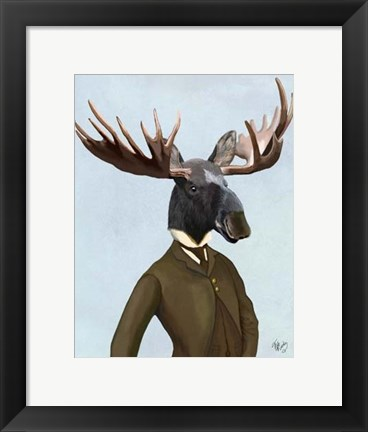Framed Moose In Suit Portrait Print