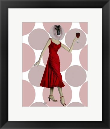 Framed Monkey in Red Dress with wine Print