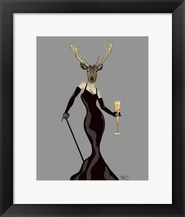Framed Glamour Deer in Black Print