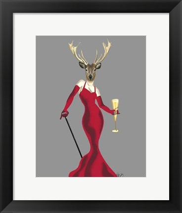 Framed Glamour Deer in Red Print